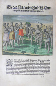 "De BRY, Johann Theodor, (1560-1623) and Johann Israel de Bry (1565-1609). Part III, Plate 10, How the People of the Island S. Laurentij or Madagascar Perform a Dance. From the ""Little Voyages"""