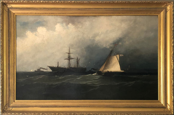 In the Manner of Xanthus R. Smith (American, 1839-1929) Shipping Off the Coast Oil on Canvas