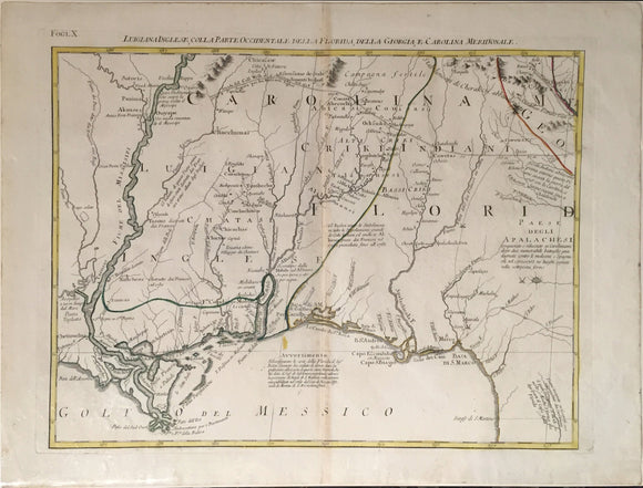 ANTONIO ZATTA, Luigiana Inglese, Colla Parte Occidentale della Florida, della Giorgia, e Carolina Meridionale (Map of the Gulf Coast and Louisiana), c. 1778.