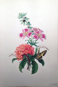 FERDINAND BAUER (AUSTRIAN, 1760-1826) Bouquet with ... Swallowtail Butterfly Watercolor