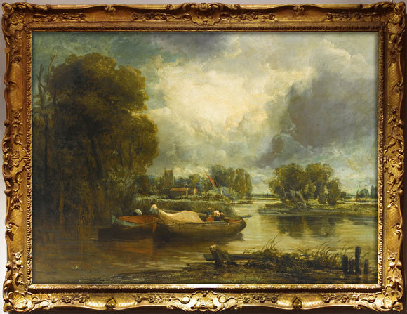 watts-frederick-w-1800-1870-or-circle-of-john-constable-ra-barges-on-a-river-after-1822