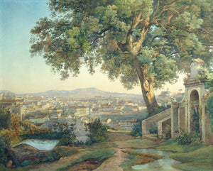 "CORRODI, Salomon (1810-1892). View of Rome from the Janiculum, with Tasso's Oak in the Foreground With inscription ""Rome Chérémeteff""."