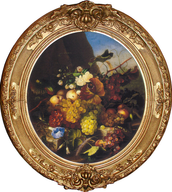 DIETRICH, Adelheid (1827-1891). Still Life with Fruit and Flowers (c. 1860s). Oil on canvas.