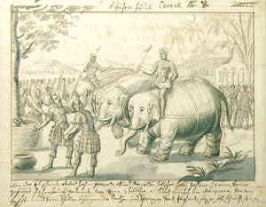 german-school-18th-century-scene-with-elephants-rhinos-and-warring-figures-pen-brown-ink-and-grey-wash-over-black-chalk