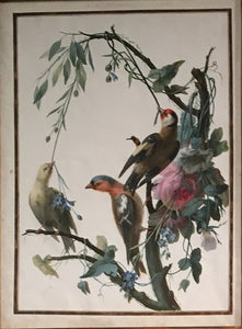 JEAN GONICHON (FRENCH, FL. 1775-1795), GROUP OF BIRDS ON ROSE BRANCH