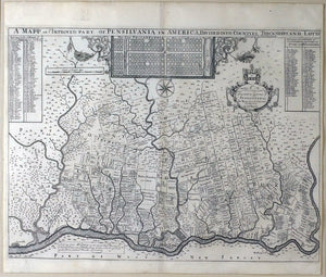 HOLME, Thomas (1624 - 1695). A Mapp of Ye Improved Part of Pennsylvania in America, Divided into Countyes, Townships and Lotts. London: Philip Lea, ca. 1715