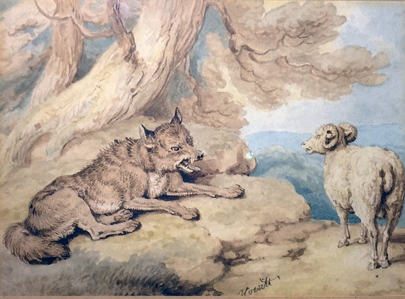 "Samuel Howitt (British, 1765-1822) ""The Sheep and the Hunted Wolf"""