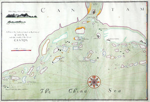"KEMPTHORNE, Captain John (1651-1692), attributed to. Fine Manuscript Coastal Chart: ""A Draft of the Ladroon Islands on the Coast of China near the Mouth of the River Canton"". [Southeast China]: 1687."