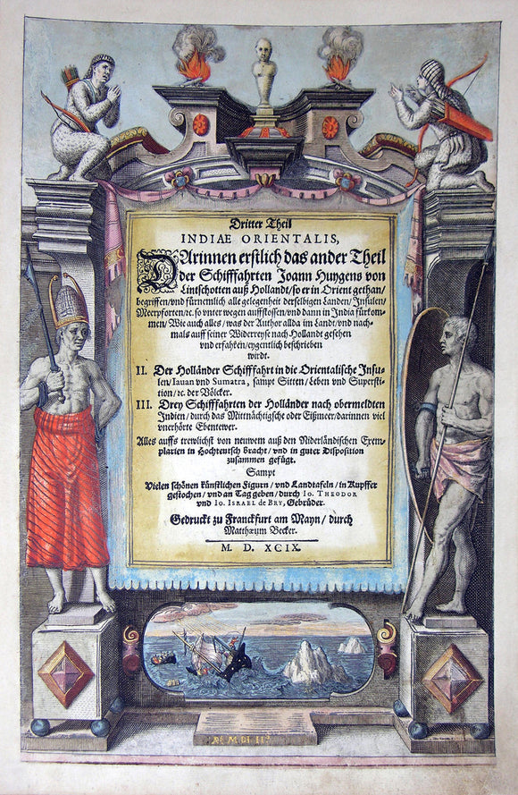 "De BRY, Johann Theodor, (1560-1623) and Johann Israel de Bry (1565-1609). Part III, Title Page. From the ""Little Voyages"""