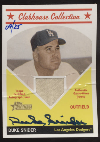 2008 Topps Heritage Duke Snider Clubhouse Collection Jersey Auto /25 Creased