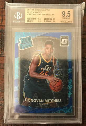 2017-18 Donruss Optic #188 Donovan Mitchell Prizm Blue Velocity RC BGS 9.5