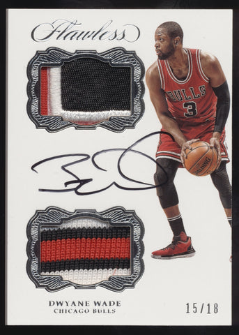 2016-17 Panini Flawless Dwyane Wade 3 Color Dual Patch Auto Autograph /18