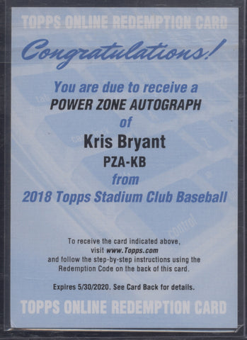 2018 Topps Stadium Club Kris Bryant Power Zone Auto Autograph