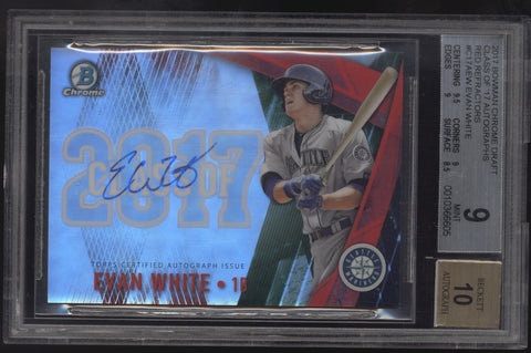 2017 Bowman Chrome Evan White Class of 2017 Red Refractor RC Auto /5 BGS 9