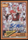 2018 Panini Classics Baker Mayfield Orange RC Rookie Auto Autograph /15