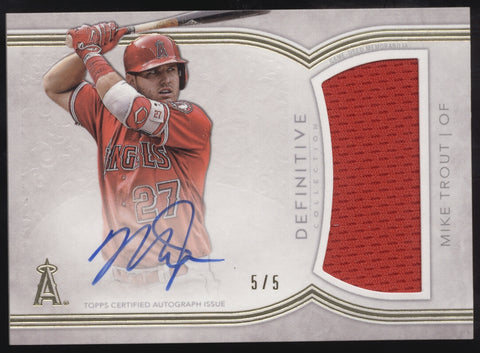 2018 Topps Definitive Mike Trout Jersey Relics Patch Auto Autograph /5