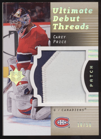 2007-08 UD Ultimate Collection Carey Price Debut Threads Jumbo Patch RC /50