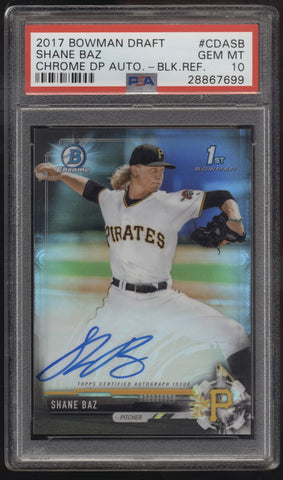 2017 Bowman Chrome Shane Baz Black Refractor RC Auto /75 PSA 10 Gem Mint