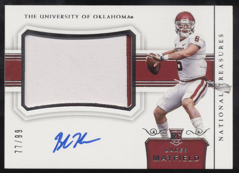 2018 National Treasures Baker Mayfield 2 Color Jersey Patch RC Auto /99