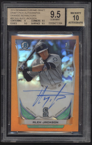 2014 Bowman Chrome Alex Jackson Orange Refractor RC Auto /25 BGS 9.5 10