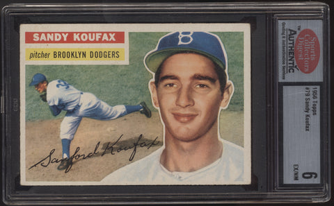 1956 Topps #79 Sandy Koufax Gray Back Dodgers SCD 80 6 EX/NM