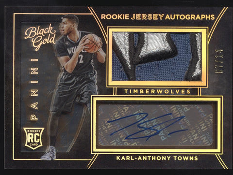 2015-16 Panini Black Gold Karl-Anthony Towns Logo Patch RC Auto /14