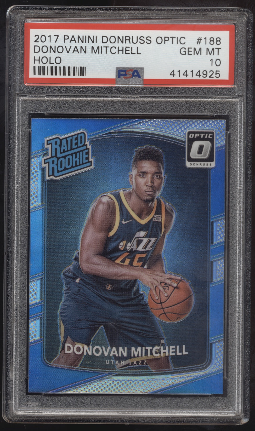 4028db661 2017-18 Donruss Optic  188 Donovan Mitchell Silver Holo RC Rookie ...