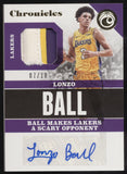 2017-18 Panini Chronicles Lonzo Ball RPA 3 Color Patch RC Auto Autograph /10