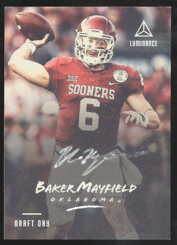 2018 Panini Luminance Baker Mayfield Draft Day Silver Ink RC Auto SP
