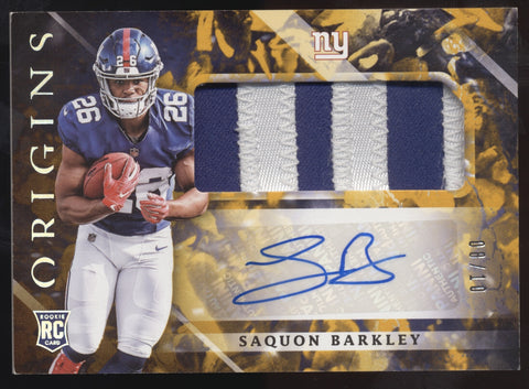 2018 Panini Origins Saquon Barkley Patch Gold RC Auto Autograph /10