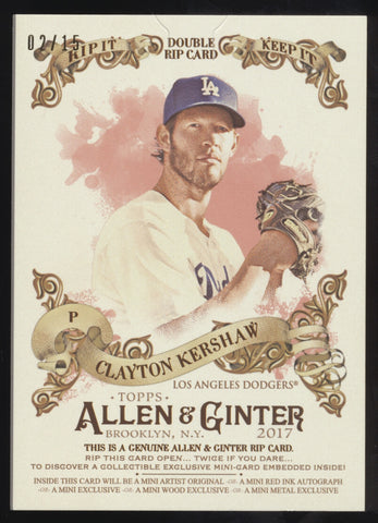 2017 Topps Allen & Ginter Clayton Kershaw Corey Seager Rip Card /15 Unripped