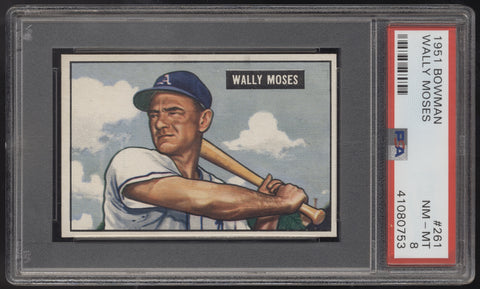 1951 Bowman #261 Wally Moses Philadelphia Athletics PSA 8 NM-MT