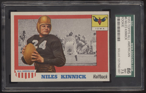 1955 Topps All-American Football #6 Niles Kinnick Iowa RC SGC 86 NM+ 7.5