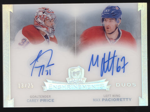 2014-15 UD The Cup Carey Price Max Pacioretty Dual Enshrinements Auto /25