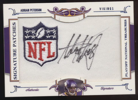 2008 National Treasures Adrian Peterson Signatures Patches NFL Logo Auto /25