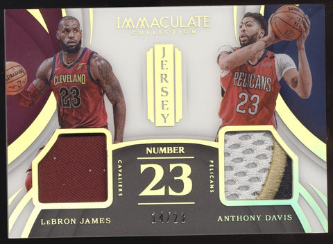 2017-18 Panini Immaculate Lebron James Anthony Davis Number 23 Jersey Patch /23
