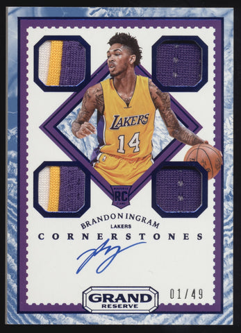 2016-17 Panini Cornerstones Brandon Ingram Quad Jersey Patch RC Auto /49 1/1
