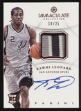 2012-13 Panini Immaculate Kawhi Leonard Chinese Red 3 Color Patch RC Auto /25