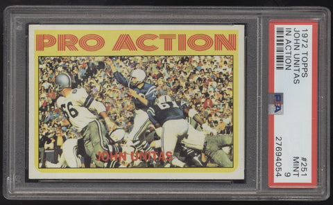 1972 Topps #151 Johnny Unitas John Pro Action In Action PSA 9 Mint