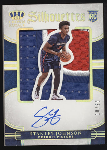 2015-16 Panini Preferred Stanley Johnson Silhouettes 3 Color Patch RC Auto /25
