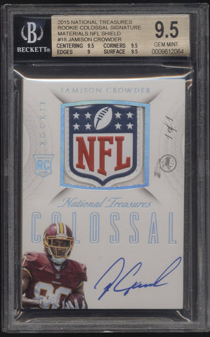 2015 National Treasures Jamison Crowder NFL Shield Patch RC Auto 1/1 BGS 9.5 10