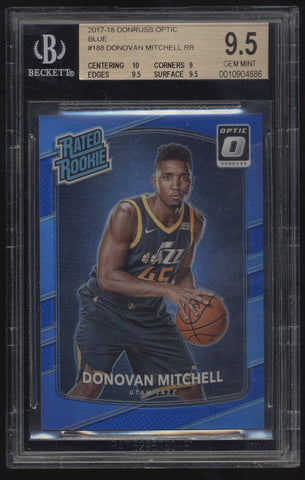 2017-18 Donruss Optic Donovan Mitchell Rated Rookie Blue RC /49 BGS 9.5