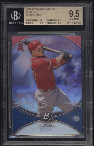 2016 Bowman Platinum Mike Trout Purple Refractor /250 BGS 9.5 Gem Mint