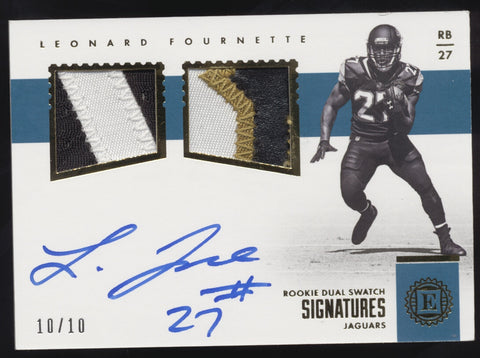 2017 Panini Encased Leonard Fournette Dual Patch Gold RC Auto Autograph /10