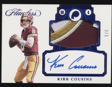 2017 Panini Flawless Kirk Cousins Redskins Logo Patch Sapphire Auto /3
