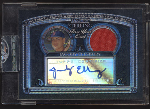 2005 Bowman Sterling Jacoby Ellsbury Black Refractor Jersey RC Auto /25