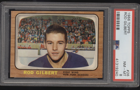 1966 Topps #26 Rod Gilbert New York Rangers PSA 8 NM-MT