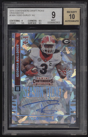 2015 Panini Contenders Todd Gurley Cracked Ice RC Auto /23 BGS 9 10
