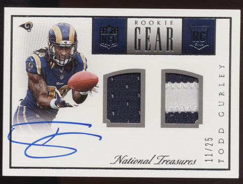 2015 National Treasures Todd Gurley NFL Gear Dual Jersey Patch RC Auto /25