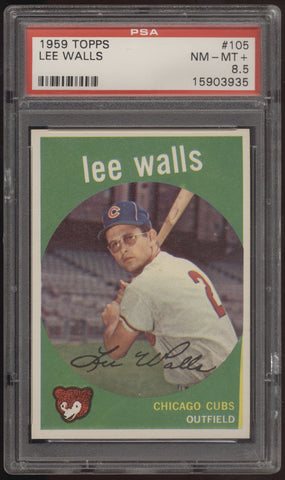 1959 Topps #105 Lee Walls Chicago Cubs PSA 8.5 NM-MT+